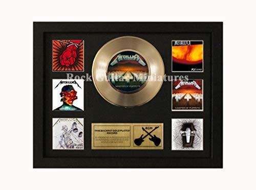 Rock Guitar Miniatures Rgm1430 Metallica 24 Gold Disc 7' in Shadowbox Telaio