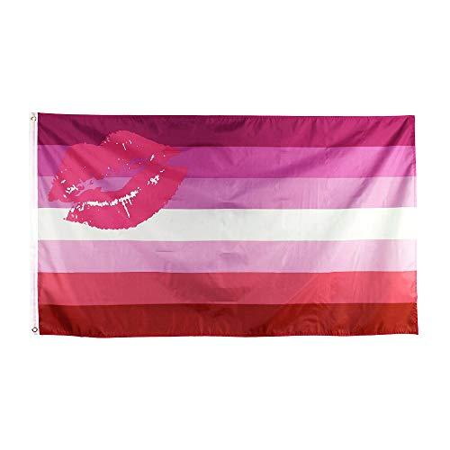 FLAGLINK Lesbian Pride Flag- 3x5 Fts – LGBT Kiss Lipstick Rainbow Banner