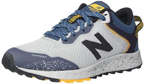 New Balance Boys' Arishi Trail V1 Fresh Foam Running Shoe, Light Aluminum/Stone Blue, 1 M US Little Kid