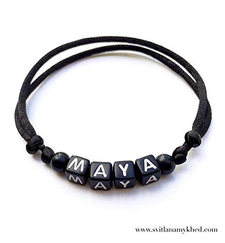 Armband Personalisiertes MAYA mit dem Buchstaben des Alphabets; Schmuck mit Namen, Nachricht, Logo, Initiale (reversibel, anpassbar) für Mann, Frau, Kind, Baby; handmade