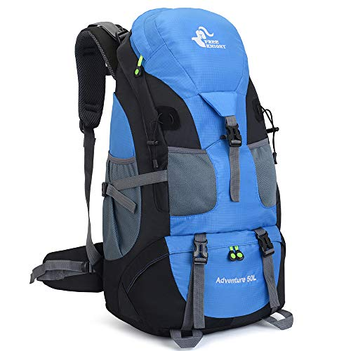 50L Ultra Lightweight Frameless Hiking Backpack,Outdoor Sport Daypack Travel Bag for Climbing Camping Touring Mountaineering Fishing (Light Blue)