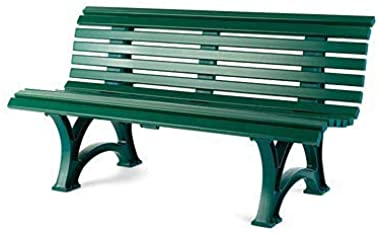 Plow & Hearth German-Made, Weatherproof Resin 3-seat Garden Bench, Ergonomic Design, Holds Up to 500 lbs, Weighs 46 lbs, Gree
