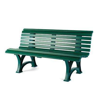"""Plow & Hearth German-Made, Weatherproof Resin 3-seat Garden Bench, Ergonomic Design, Holds Up to 500 lbs, Weighs 46 lbs, Green, 59"""" L x 26½""""W x 31½""""H"""
