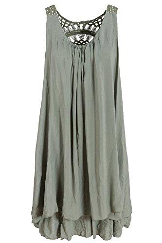 Italienische Mode Sommerkleid mit Spitze am Rücken Tunikakleid Knielang Olivgrün 38+40