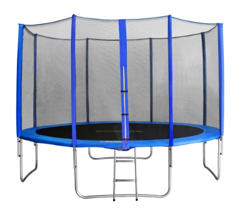 SixBros. SixJump 4,00 M Trampolín Cama elástica de jardín Azul - Escalera - Red de Seguridad - Lluvia Cobertura TB400/1741
