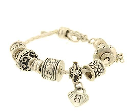 Behave® dames kunstleer gevlochten armband met metalen parels van kunstleer - wit - 24cm grootte