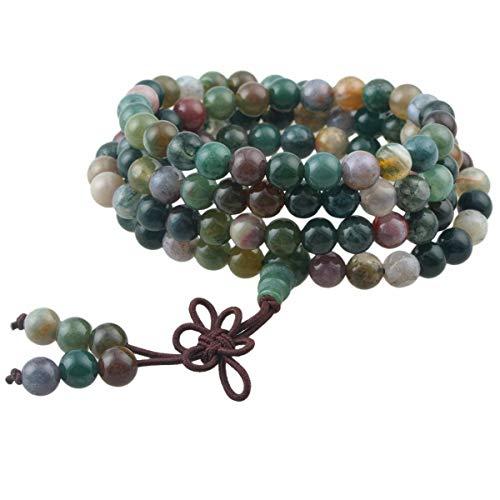 KYEYGWO 108 Gebet Mala Perlen Armband für Damen Herren, 6mm Tibetisch-buddhistischen Heilstein Halskette für Unisex, Indischer Achat