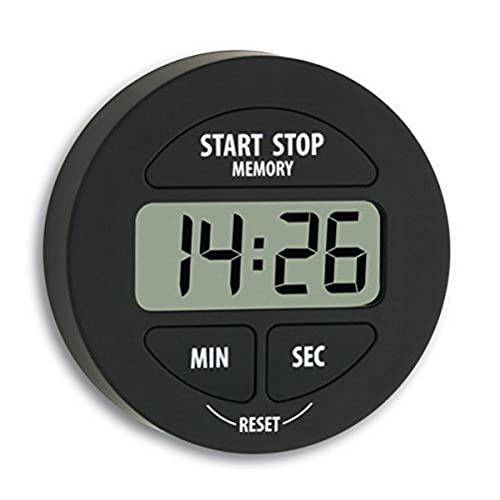TFA Dostmann Digitaler Timer und Stoppuhr, 38.2022.01, klein und handlich, magnetisch, mit Memory-Funktion, schwarz,L 55 x B 17 x H 55 mm