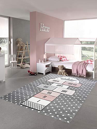 Merinos Kinderteppich Hüpfspiel Teppich Hüpfkästchen in Grau Rosa Creme Größe 140x200 cm