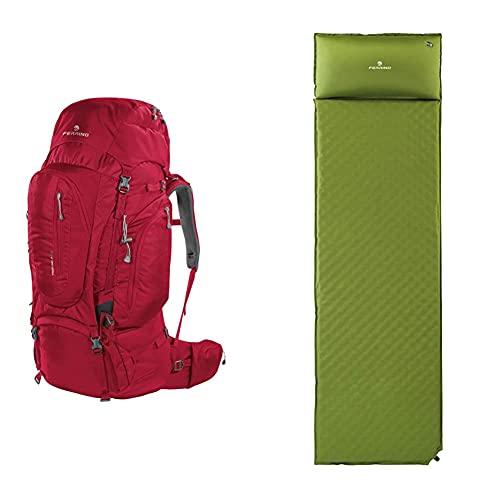 Ferrino, Transalp, Zaino Trekking , Rosso, 80 L & Dream, Materassino Da Campeggio Verde, 180X51X3,5 Cm