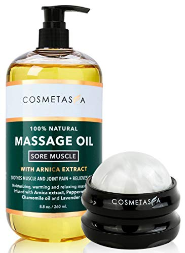 Cosmetasa Sore Muscle Massage Oil with Massage Ball Roller - 8.8 oz Soothes Muscle and Joint Pain with Arnica Extract, Peppermint, Chamomile, and Lavender Oil
