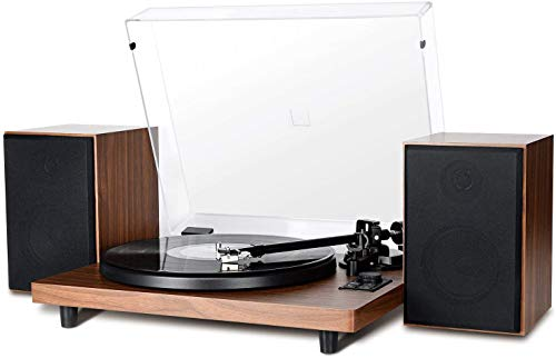Bluetooth Record Player Wireless Turntable HiFi System Wooden Bluetooth Turntable Converter with Counter Weight, Audio Music Player with Twin Detachable Speakers