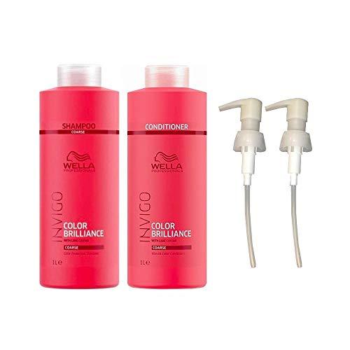 Wella Invigo Brilliance Coarse Hair Shampoo & Conditioner Duo Litre Pack + Pumps