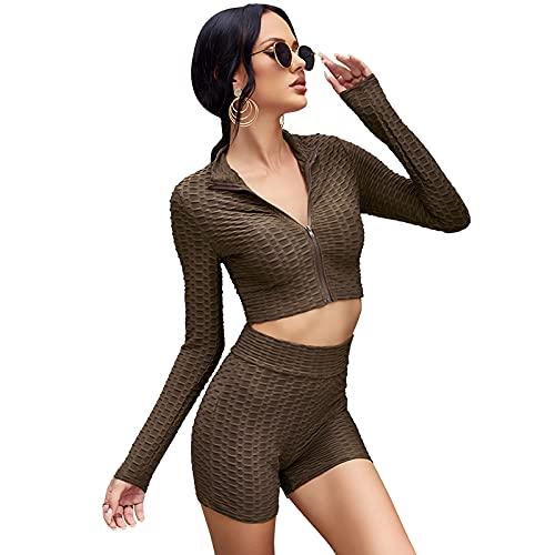 MAHUAOYIXI 2 unidades de top corto de manga larga + pantalones de color liso con cuello en V sexy para mujer a la moda, vestido de playa, top corto, pantalones de cintura alta, café, S