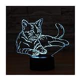 3D Lámpara óptico Illusions Luz Nocturna, EASEHOME LED Lámpara de Mesa Luces de Noche para Niños Decoración Tabla Lámpara de Escritorio 7 Colores Cambio de Botón Táctil y Cable USB, Gato