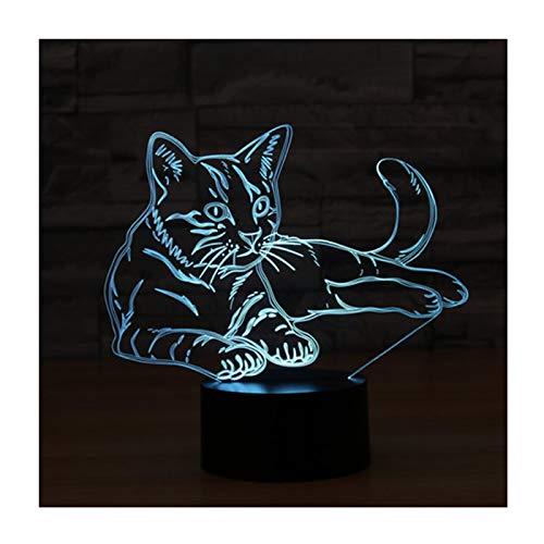 3D Illusion Lampe LED Nachtlicht, EASEHOME Optische 3D-Illusions-Lampen Tischlampe Nachtlichter 7 Farben Berührungsschalter Schreibtischlampe mit 150cm USB-Kabel Kinder Nachtlampe, Katze