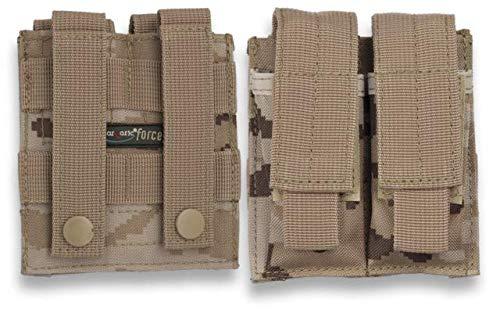 Funda Doble Cargador Sistema MOLLE para Paintball, Airsoft, recreaciones Militares Barbaric Force 34476 + Portabotellas de regalo