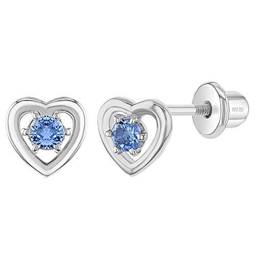 In Season Jewelry - Baby Mädchen - Schraubverschluss Ohrringe Offenes Herz 925 Sterling Silber Blau CZ Zirkonia