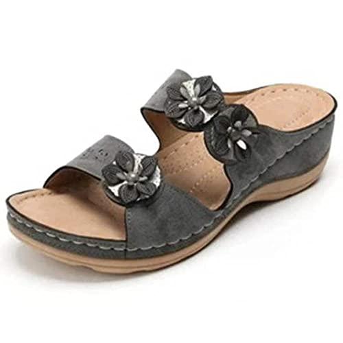 FAYHRH Baño Sandalia Suela De Espuma Suave Zapatos,Sandalias Casuales de Gran tamaño 35-43, Zapatillas de Plataforma de Mujer con Punta Abierta-Gris Oscuro_42