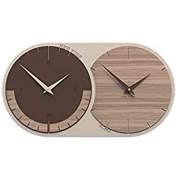CalleaDesign 19.7 Time Zone Wall Clock 2 Black Walnut Customizable