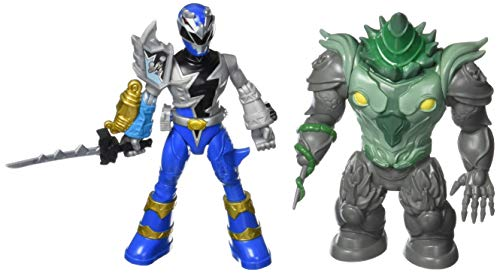 Power Rangers Dino Fury Battle Attackers 2-Pack Blue Ranger vs. Shockhorn Kicking Action Figure Toys with Accessory Inspired by TV Show Ages 4 and Up