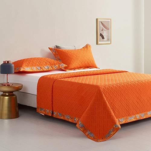 Rubyurphy Literie 3PCS, Coton Cheval 140S, couette fine Confortable, Drap de Lit, housse de canapé-Orange_245x245cm