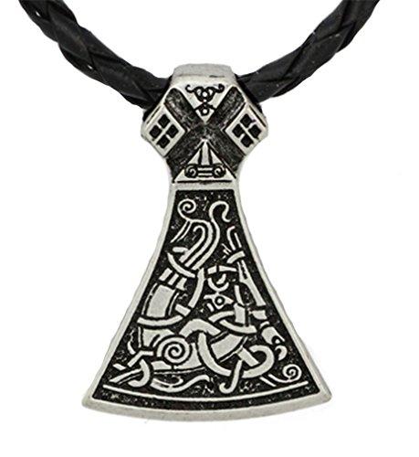 Halskette mit Anhänger aus Metall im Wikinger-Design, Schwarz Mammen-Axt