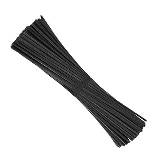 Xkfgcm 100 Stück 4mm*20cm Raumduft Diffuser Aroma Sticks Rattan Reed Diffusor Sticks Intensiv Raumduft Lufterfrischer mit Rattan Duftstäbchen für Raumduft Diffusoren Duftverteiler-Stäbchen schwarz