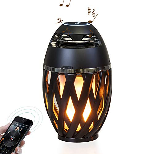 Speaker-EJOYDUTY Outdoor-HD audio waterdichte luidspreker met knipperende LED-vlam sfeerlantaarn, Bluetooth 4.2 draadloze draagbare luidspreker voor iPhone/iPad/Android, 1 verpakking