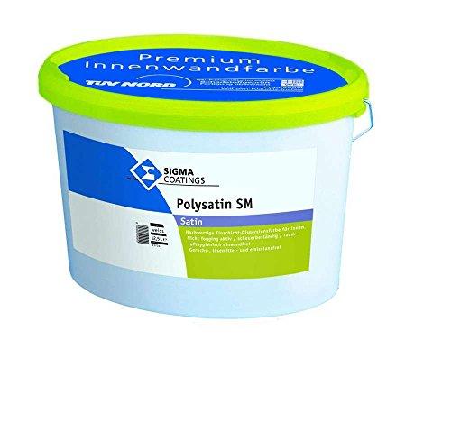 Sigma Coating hochwertige Dispersionsfarbe Wandfarbe Polysatin Sm Satin Weiß Seidenmatt 12,5 Liter