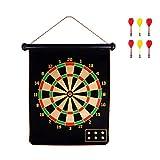 LIOOBO Magnetische Dartscheibe Set 15 Zoll Doppelseitige Dartscheibe Hängen Sicherheit Dartscheibe mit 6 stücke Dart Flüge für Kinder Familie Freizeit Sport Spiele