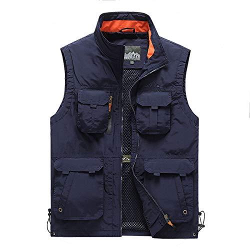 YDSH Mens Vest Outdoor Reporter Photography Vest Sleeveless Shirt Safari Vest Multi Pocket Hunting Fishing Camping Multi Pocket Breathable mesh Navy Blue