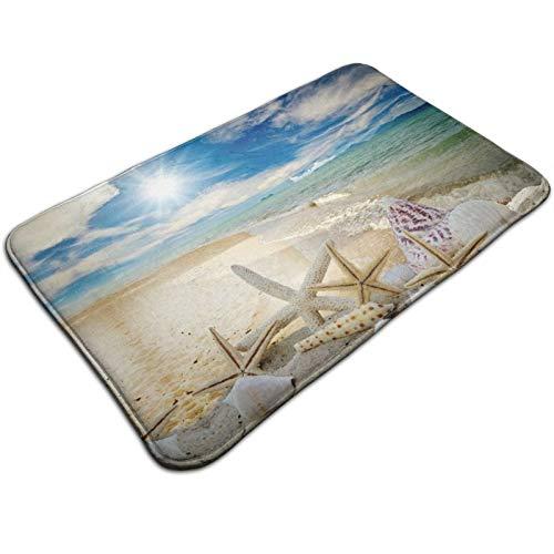 TINGHAI Beach Starfish Scallop Memory Foam Bath Rugs and Doormats Non Slip Absorbent Super Cozy Flannel Bathroom Rug Carpet,31.5''X19.7''