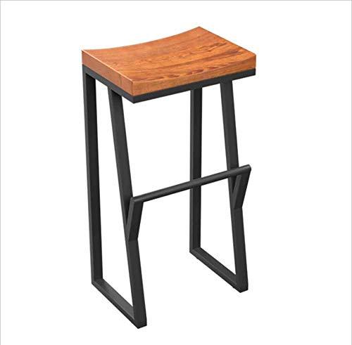 TX ZHAORUI Hoge barkruk massief hout balie stoel smeedijzeren benen bar stoel comfortabele eetkamerstoel ontbijt kruk 36x38x75cm