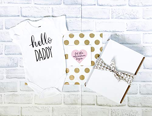 Hello Daddy Pregnancy Announcement to Husband Onesie® Gift for Husband Personalized Gift Box Pregnancy Reveal - Gift Under 30 Christmas Gift