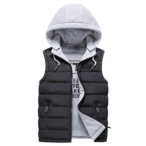 Giacca Moda Uomo Autunno e Inverno con Cappuccio Giacca Tinta Unita Cappotto Gilet Top Fresco