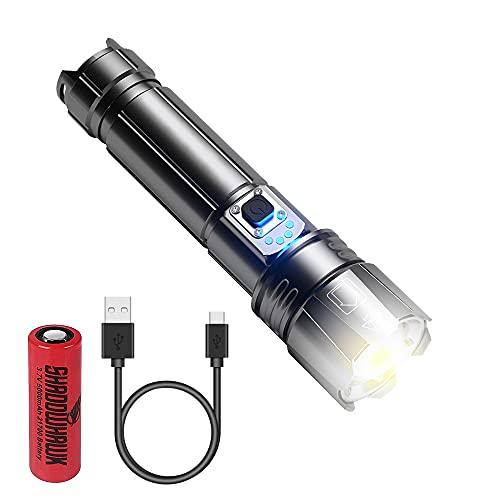 Furado LED Taschenlampe, XHP99 5000 Lumen Taschenlampe Aufladbar, IPX67 Wasserdicht 5 Lichtmodi Zoombar für Camping Wandern Notfälle Inklusive 26650 Akku (1PC) Und Ladekabel Typ C