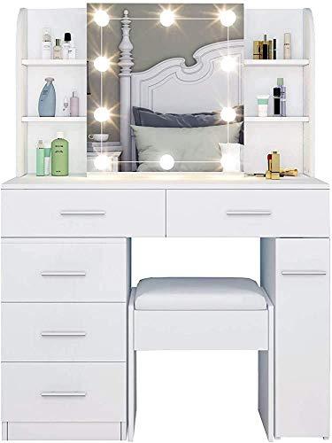 Moderne minimalistische Fähigkeiten mit fünf Schubladen, Laternen, Spiegeln mit dem Schminktisch und einem Hocker, Schlafzimmerkornkabinett,White