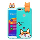 LAXIN Cartoon TPU Case for Huawei Y7 (2018),Soft 3D Silicone Case,Cute Smiling Dog Animal Rubber...