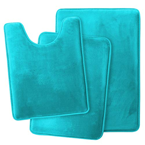 Clara Clark Memory Foam Bath Mat Ultra Soft Non Slip and Absorbent Bathroom Rug, Set of 3 - Small/Large/Contour, Teal Blue, 3 Count