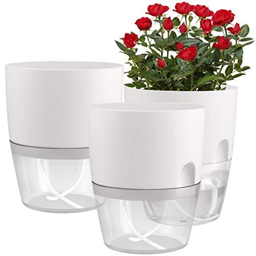 "JFMAMJ 3 Pack 6"" Self Watering Plastic Planter Wicking Pots"