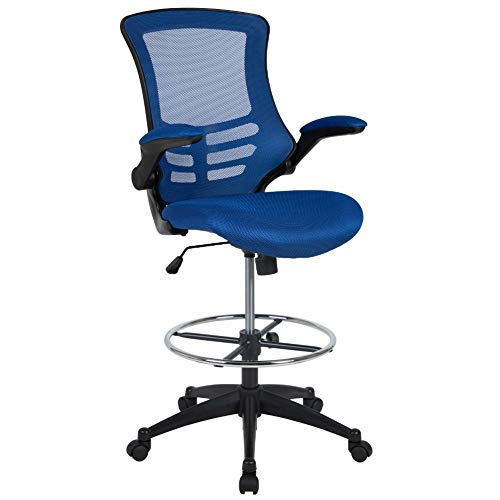 Flash Furniture Mid-Back Blue Mesh Ergonomic Drafting Chair with Adjustable Foot Ring and Flip-Up...