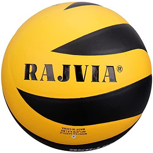 Pallone da Pallavolo, Palla da Pallavolo, Pallone Beach Volley Soft Touch Volleyball per Bambini/Giovani/Adulti, Taglia 5 (Nero/ Giallo)