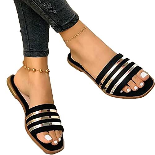 SKYWPOJU Sandalias Mujer Verano Sandalias Cómodos Casual Zapatos de Playa (Color : Black, Size : EU:37/UK:4.5/US:6)