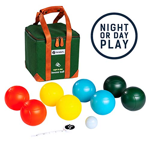 tenalach LED Glow-in-The-Dark Bocce Ball Game   Includes 8 LED-Lit Bocce Balls, LED-Lit Pallino or Jack Ball, Measuring Tape, Premium Canvas Carrying Case