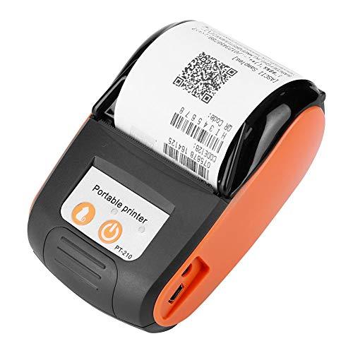 Diyeeni Drahtlose Thermodrucker 58mm, Tragbar ESC/POS Drucker Bluetooth 4.0 USB 203dpi Bondrucker Belegdrucker mit 1500mAh Wiederaufladbar Batterie, Kompatibel mit Android iOS Windows(Orange)