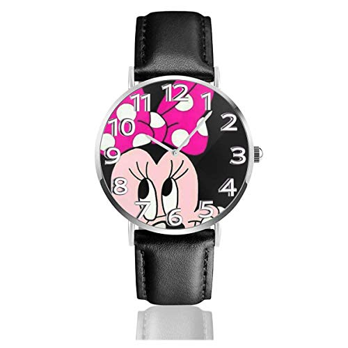 Lovely Minnie Unisex Easy Reader Reloj analógico de Cuarzo de 38 mm con Correa de Cuero
