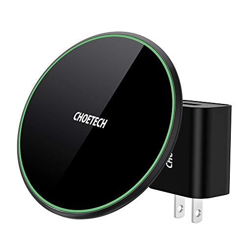 CHOETECH USB-C 15W Wireless Charger, Zinc Alloy Glass Wireless Charging Pad 15W Compatible LG V30/V30+/V35/G8, 7.5W Compatible iPhone Xs Max/XR/X/XS/8/8...