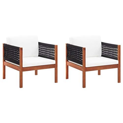 vidaXL 2X Akazienholz Massiv Gartenstuhl mit Auflagen Gartensessel Stuhl Sessel Gartenmöbel Holzstuhl Gartenstühle Stühle Terrassenstuhl
