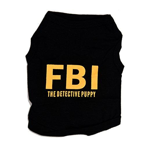 SODIAL Animaux Funny Chien FBI imprime Detective Gilet Chemise T-shirt Noir S